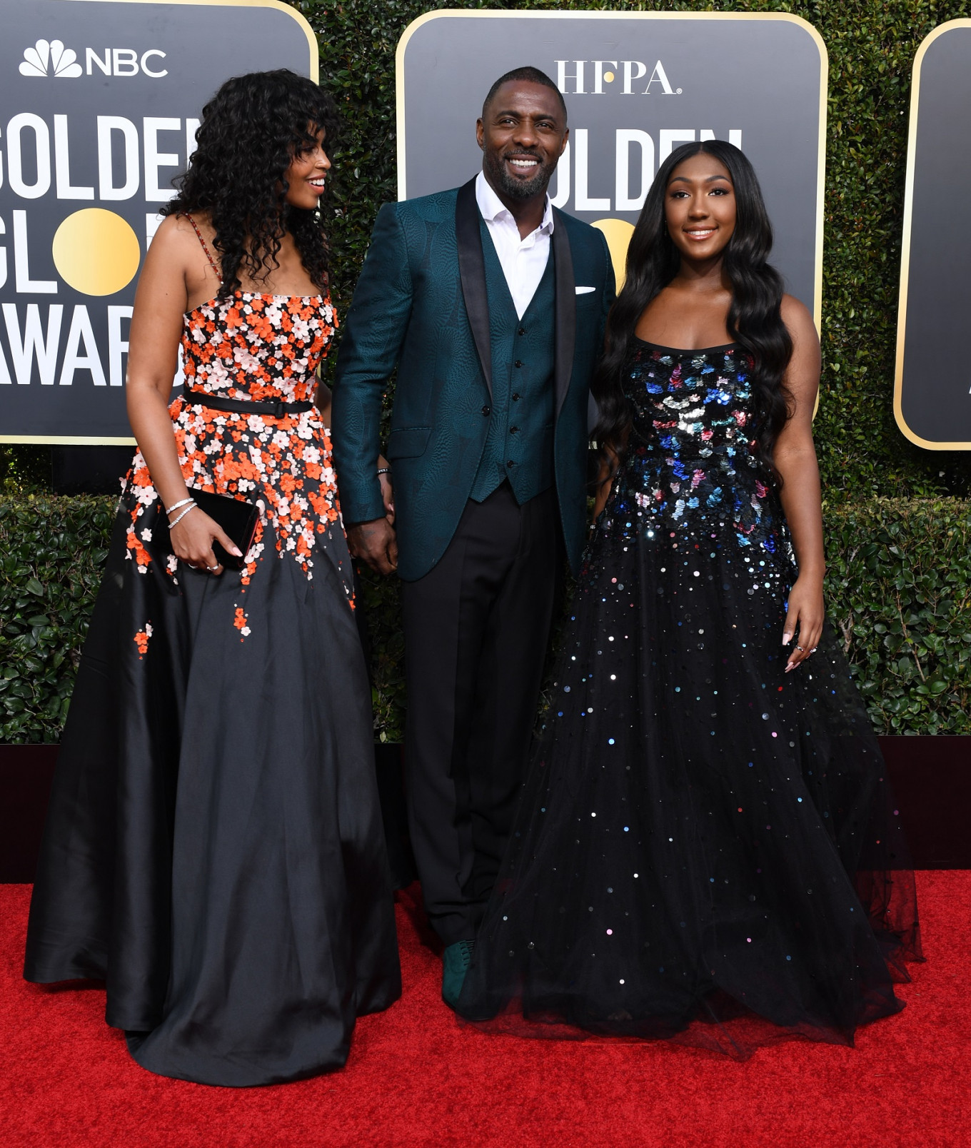 2019 Golden Globe Ambassador Isan Elba (R), actor Idris Elba and his fiance model Sabrina Dhowre arrive for the 76th annual Golden Globe Awards on Jan. 6, 2019, at the Beverly Hilton hotel in Beverly Hills, California