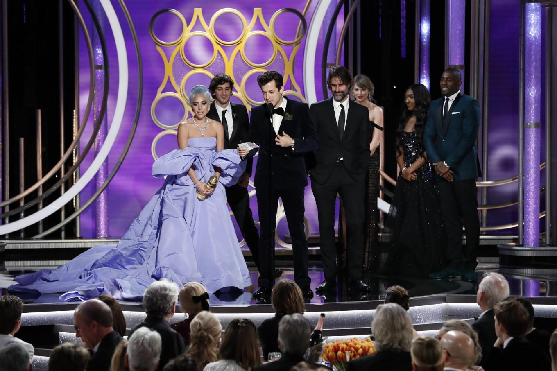 Lady Gaga goes old-school on color-filled Golden Globes red carpet