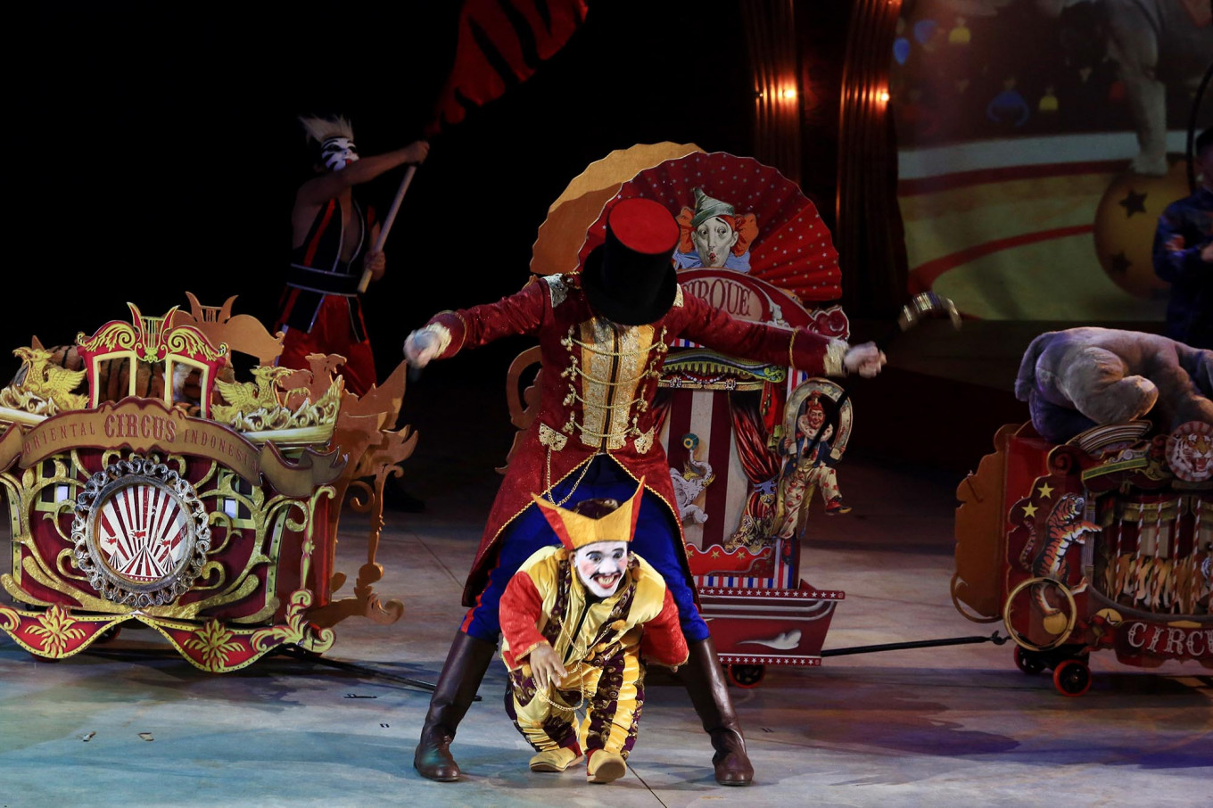 Laughing matter: Two clowns entertain the audience during The Great 50 Show performance by Oriental Circus Indonesia. JP/Dhoni Setiawan