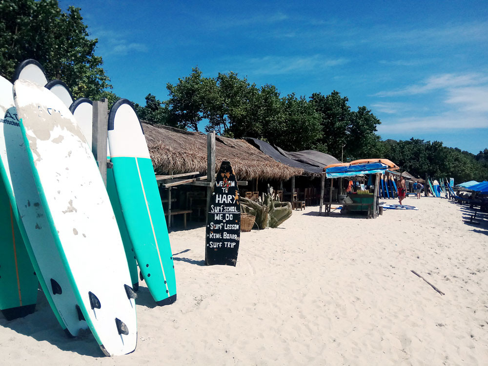 Time to learn: Surfboard rentals and schools are scattered along 