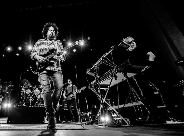 Steve Lukather (left) and Steve Porcaro (right) of TOTO on stage. The band is set to perform in Java Jazz Festival 2019 on March 1-3.
