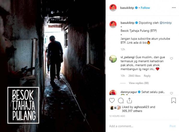 An Instagram post by @basukibtp, an official account handled by Basuki Tjahaja Purnama's team.