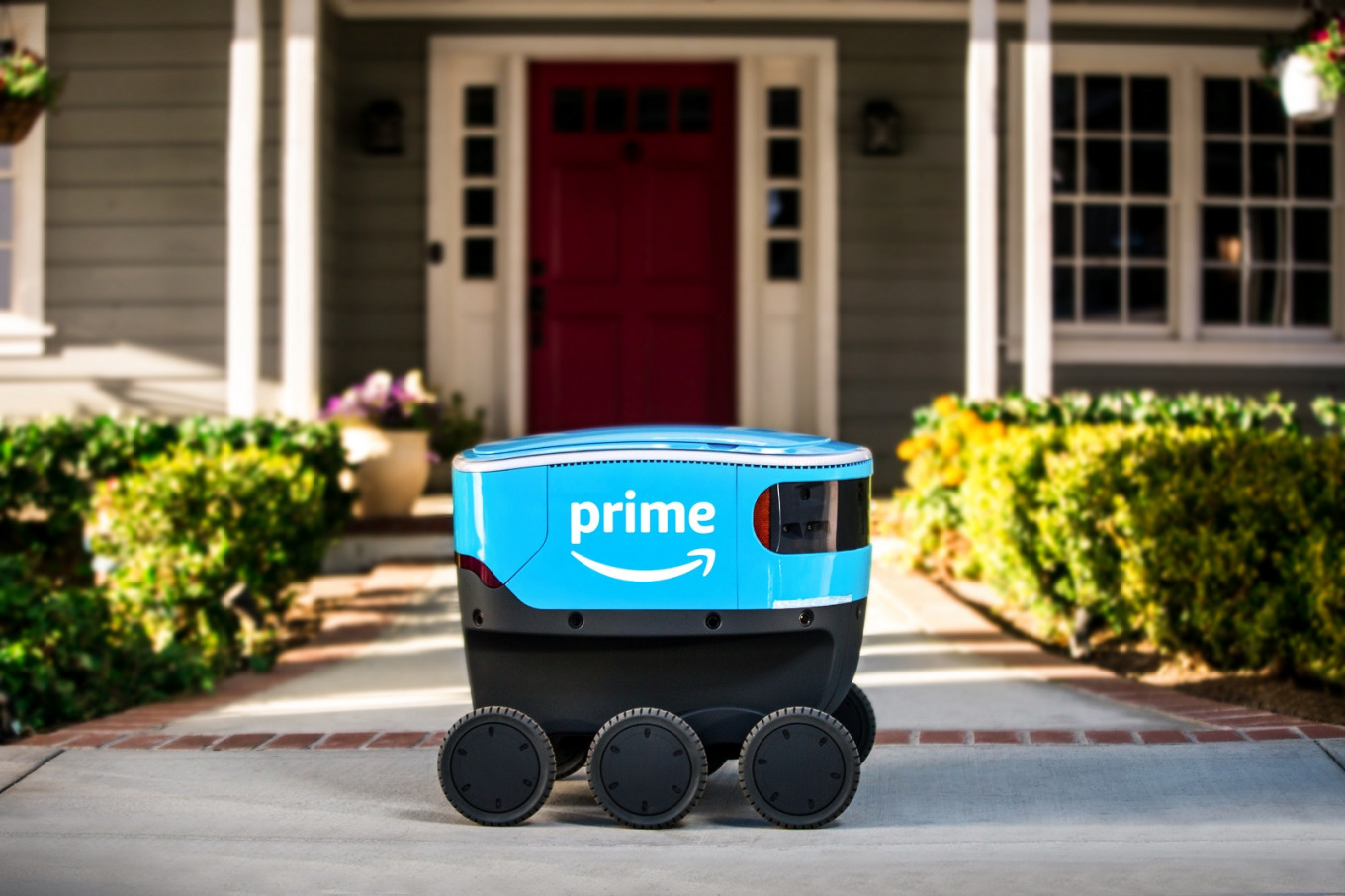 What has six wheels and makes Amazon deliveries?