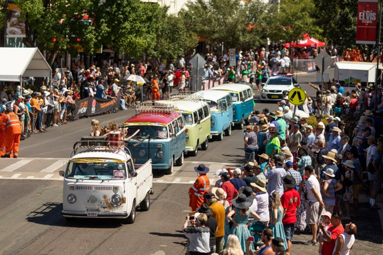 Vintage Kombi vans taking part in the street parade during the 2019 Parkes Elvis Festival in Parkes.