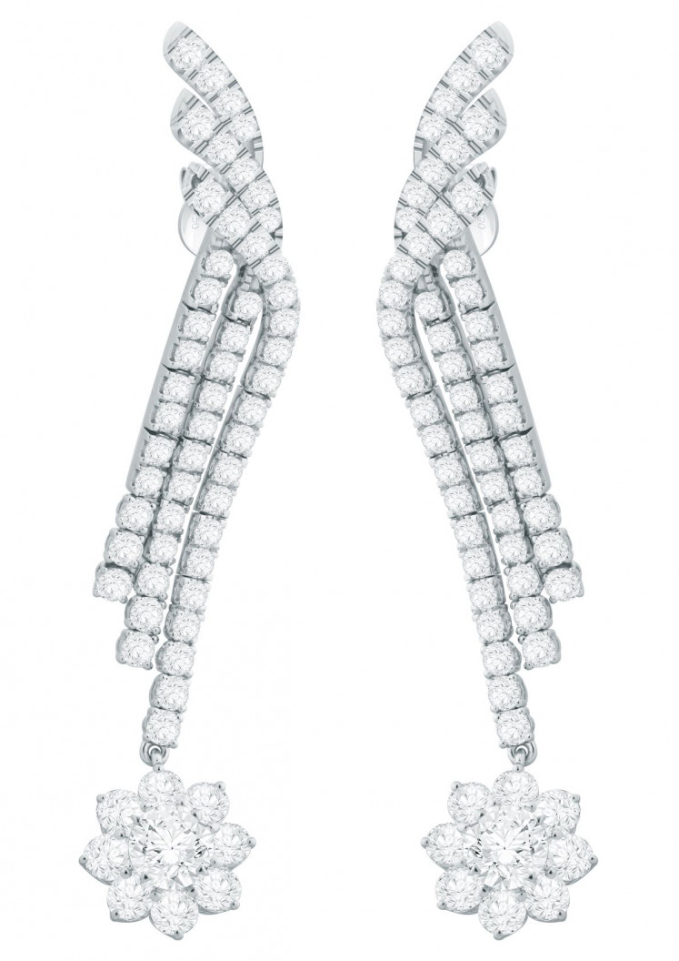 Up close: Forevermark Waterfall Diamond Earrings set in 18 carat white gold.
