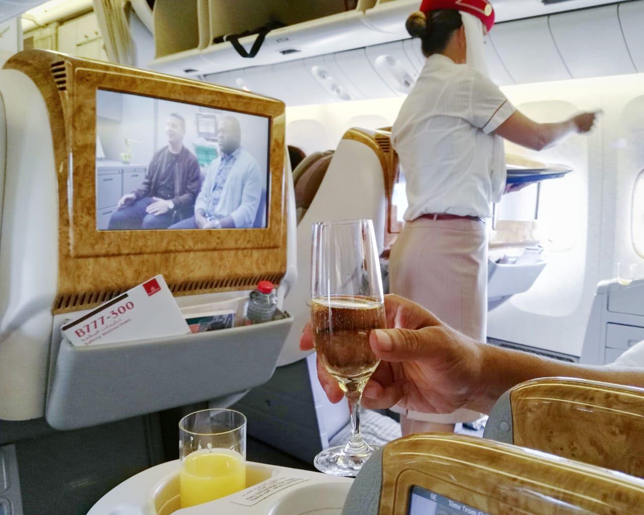 A drink on board EK450 shorty before take-off from Ngurah Rai International Airport
