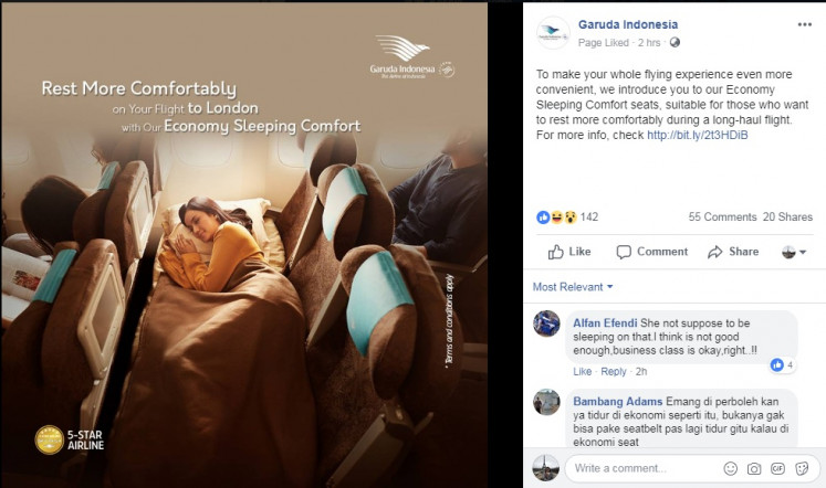 """Garuda Indonesia announced on Tuesday a new class that allows passengers to """"rest more comfortably"""" during the national flag carrier's long-haul Jakarta-London-Denpasar flight."""