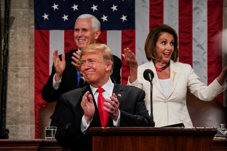 Pelosi lets her feelings known to Trump during speech