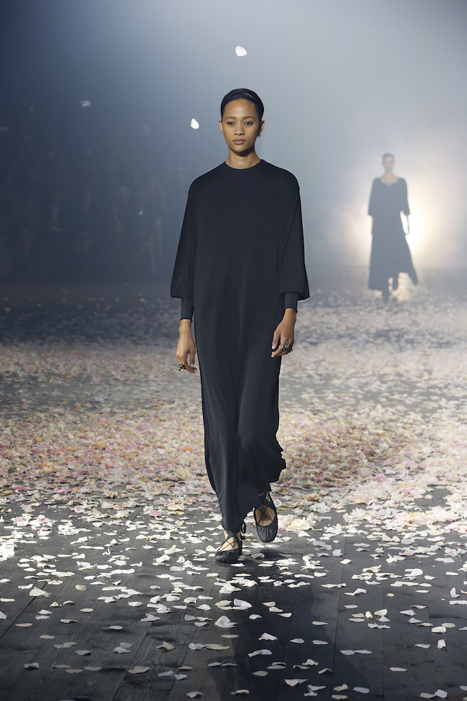 Dior opened the show with a simple black tunic, which had been cut and draped exquisitely by hand.
