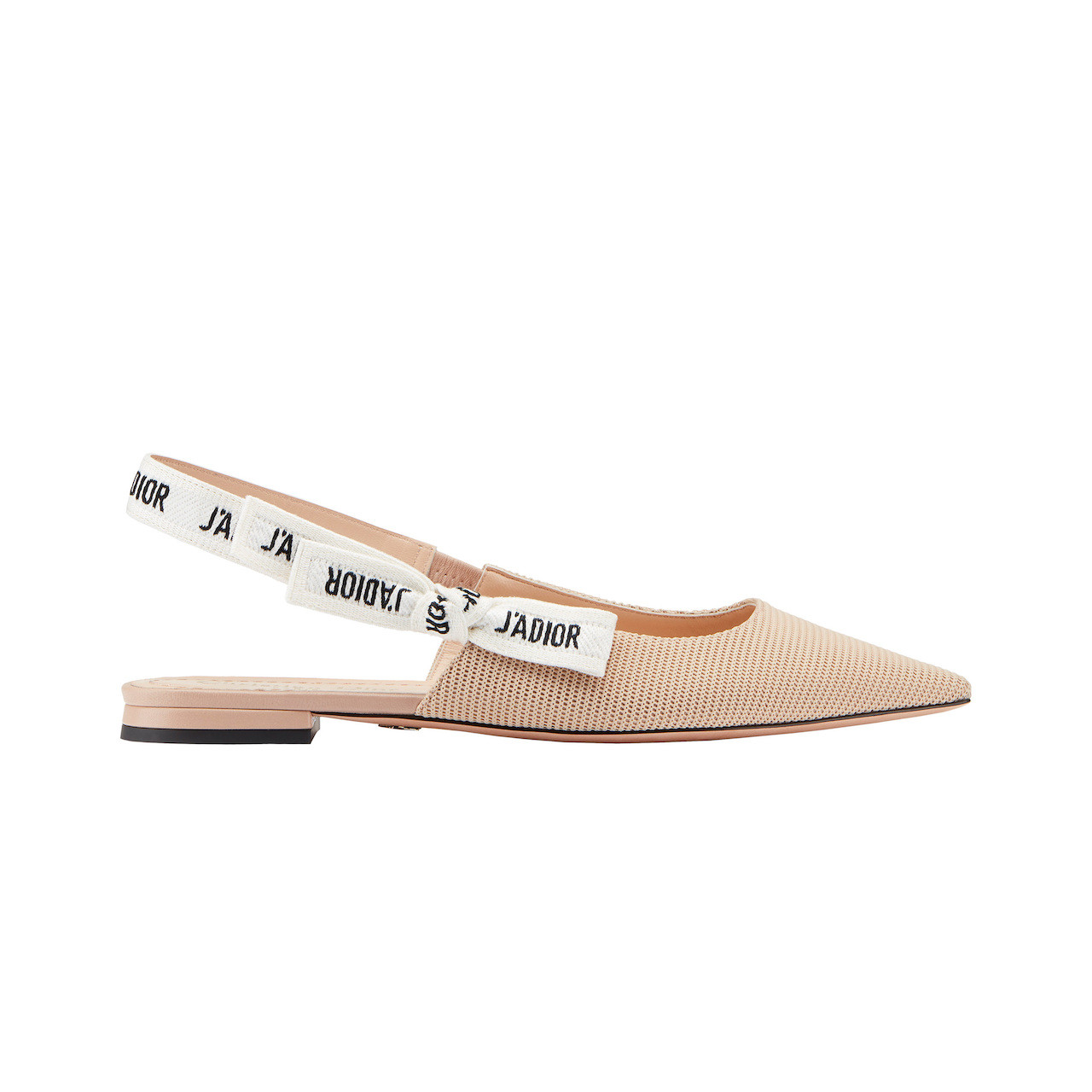 The J'Adior slingback ballerina in nude technical fabric, embroidered ribbon and 1-centimeter heel.