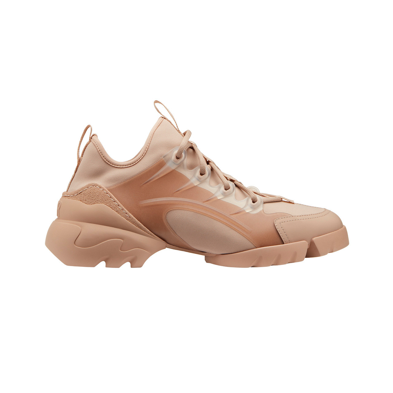 The D-Connect sneaker in nude neoprene and technical fabric, transparent rubber layer, oversize sole at the back with D.I.O.R. signature.