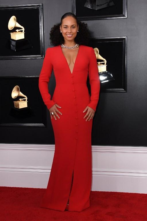 Host US singer-songwriter Alicia Keys arrives for the 61st Annual Grammy Awards on February 10, 2019, in Los Angeles.