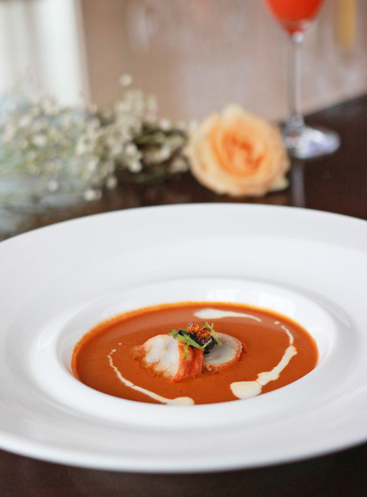 Creamy lobster bisque offered at Shangri-La Hotel Jakarta's Rosso Italian restaurant for Valentine's day dinner