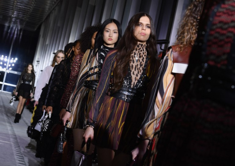 Models walks the runway for the Longchamp Fall/Winter 2019 show during New York Fashion Week on February 9, 2019 in New York City.