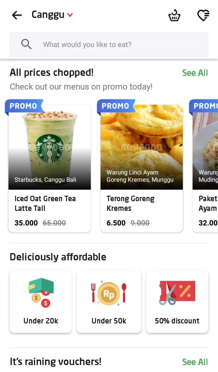 Go-Food page that shows lists of food and drink available in Canggu, a coastal village in Bali.