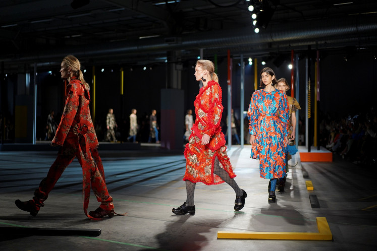 Models present creations during the Preen by Thornton Bregazzi catwalk show at London Fashion Week Women's A/W19 in London, Britain February 17, 2019.