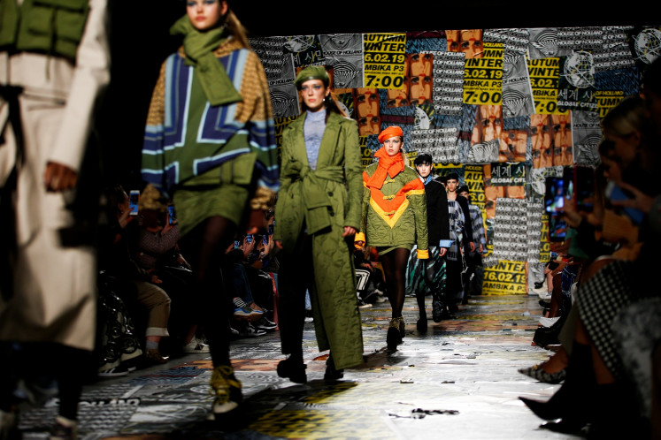 Models present creations during the House of Holland catwalk show during London Fashion Week Women's A/W19 in London, Britain February 16, 2019.