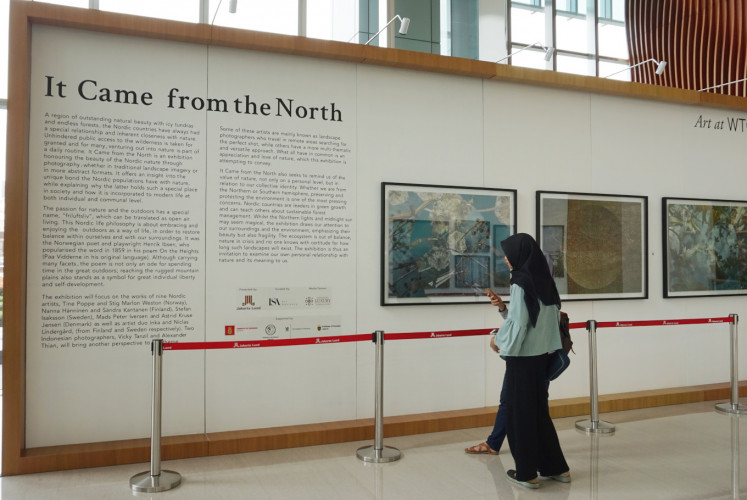 Visitors read introductory information on It Came from the North on Feb. 20.