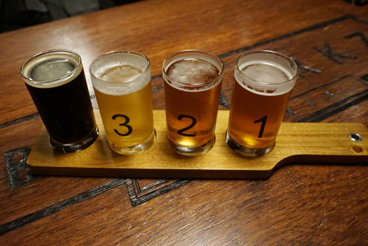 Brewerkz's beer samples comprising four glasses of Brewerkz beers based on a customer's request.