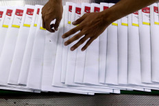 The ballot papers are lined up after the printing process. JP/Dhoni Setiawan