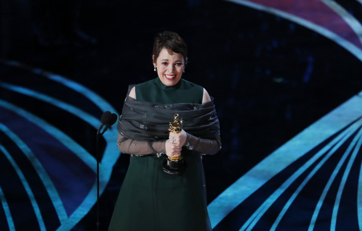 Olivia Colman accepts the Best Actress award for her role in 'The  Favourite' at the 91st Academy Awards in Los Angeles, California, US, on February 24, 2019.