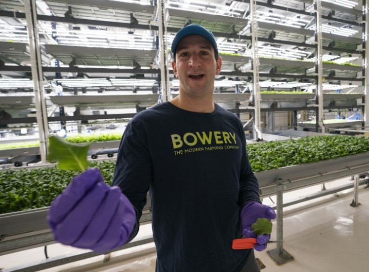 Irving Fain, CEO and co-founder of Bowery Farming, talks about his hydroponic grown greens on January 28, 2019, in Kearny, New Jersey.