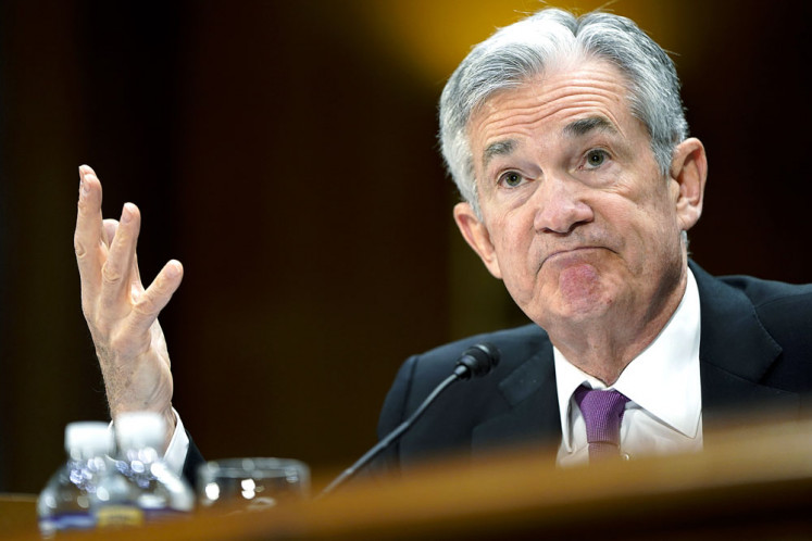 Federal Reserve chairman Jerome Powell delivers the Fed's semiannual monetary policy report to the Senate banking committee in Washington, DC, on Tuesday. Powell addressed issues that could effect the economy, including trade with China, Brexit, inflation and public debt.