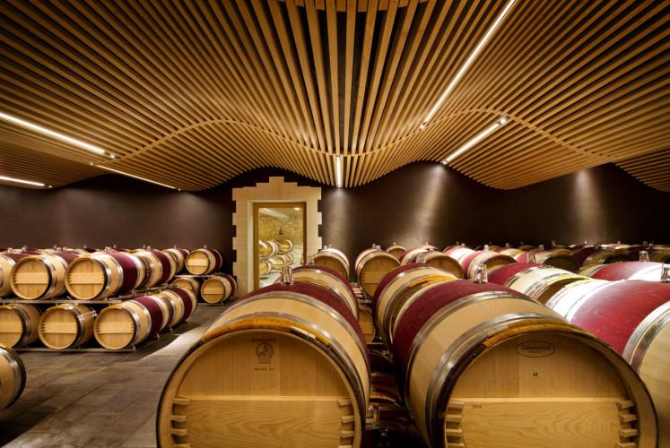 The wine cellar of Ch'teau Angélus.