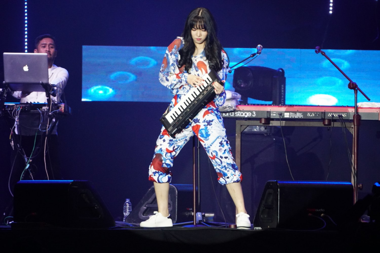 Isyana Sarasvati performs at the Jakarta International BNI Java Jazz Festival at JIExpo Kemayoran in North Jakarta on March 3, 2019.