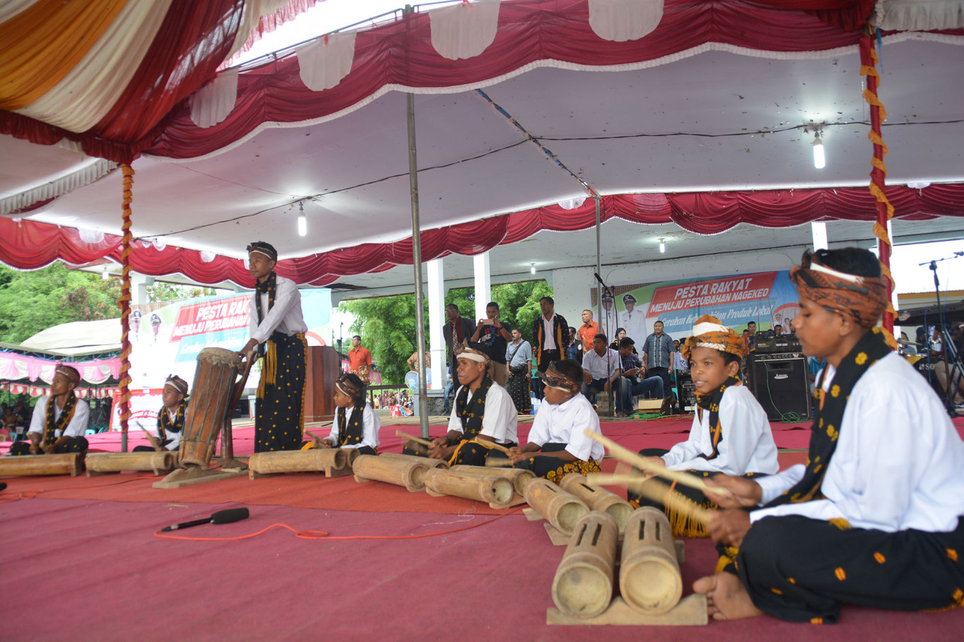 Musicians perform 'ndoto', traditional bamboo music.