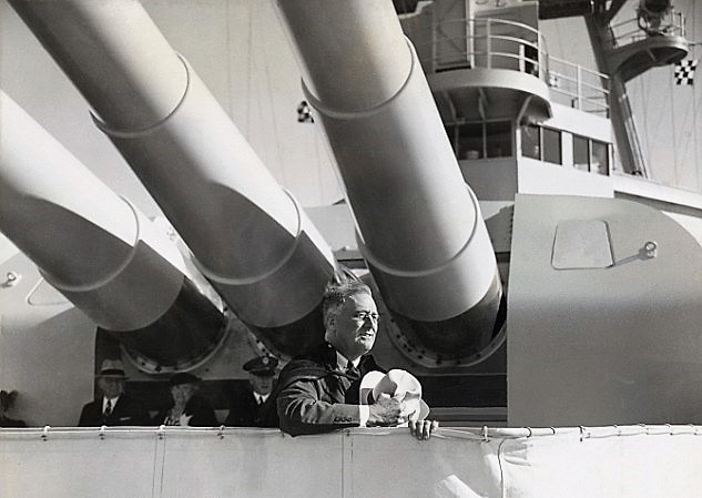 Big guns: Then-United States president Franklin D Roosevelt aboard the USS Houston in 1938.
