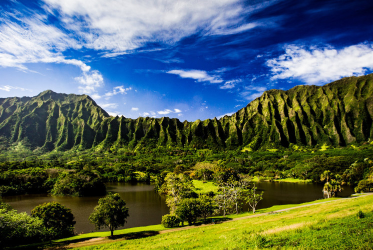 Ho'omaluhia Botanical Garden on Oahu Island, Hawaii