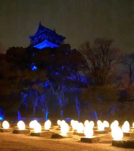 Seen in a new light: Each night, Hiroshima Castle is transformed into an interactive art space during the teamLab:Digitized Hiroshima Castle event that runs until April 7.