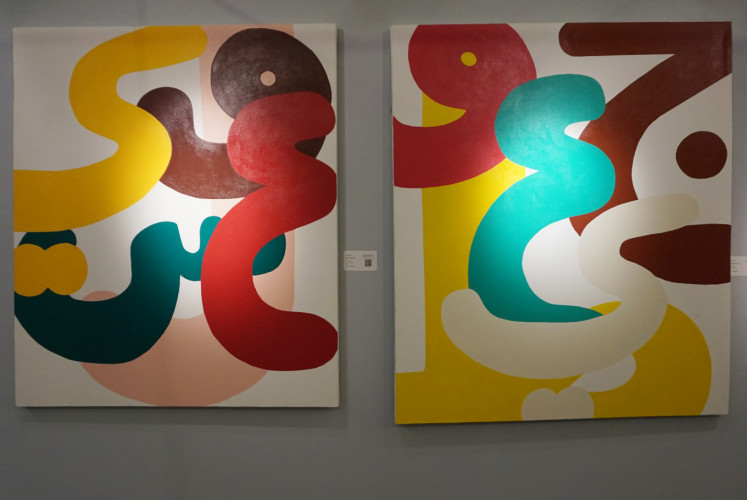 Arahmaiani's 'Silent Rainbow VIII' (left) and 'Silent Rainbow VII' (right).