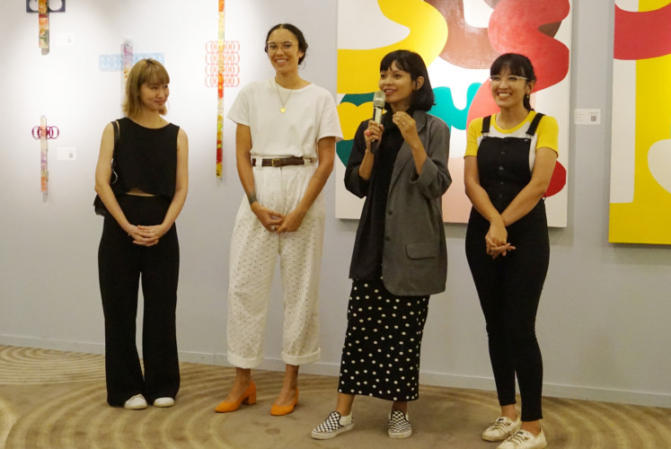 Four artists attend the press conference of the 'Reinventing Eve' exhibition on Wednesday at 1Park Avenue in South Jakarta: Melissa Tan (left to right), Ines Katamso, Rega Ayundya and Ella Wijt.