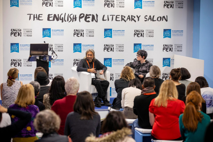 Author of the day: Indonesian author Seno Gumira Ajidarma engages in conversation with Sian Cain at the English PEN Salon during the London Book Fair.