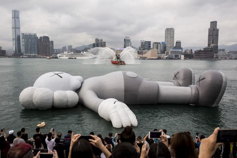 Giant floating mouse-like sculpture arrives in Hong Kong harbor
