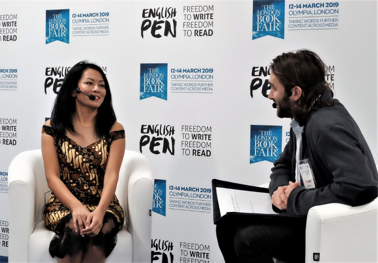 """Crossing boundaries: Singer and acclaimed writer Dewi """"Dee"""" Lestari (left) is featured at the PEN Literary Salon at the London Book Fair, where Indonesia was selected as Market Focus country this year."""