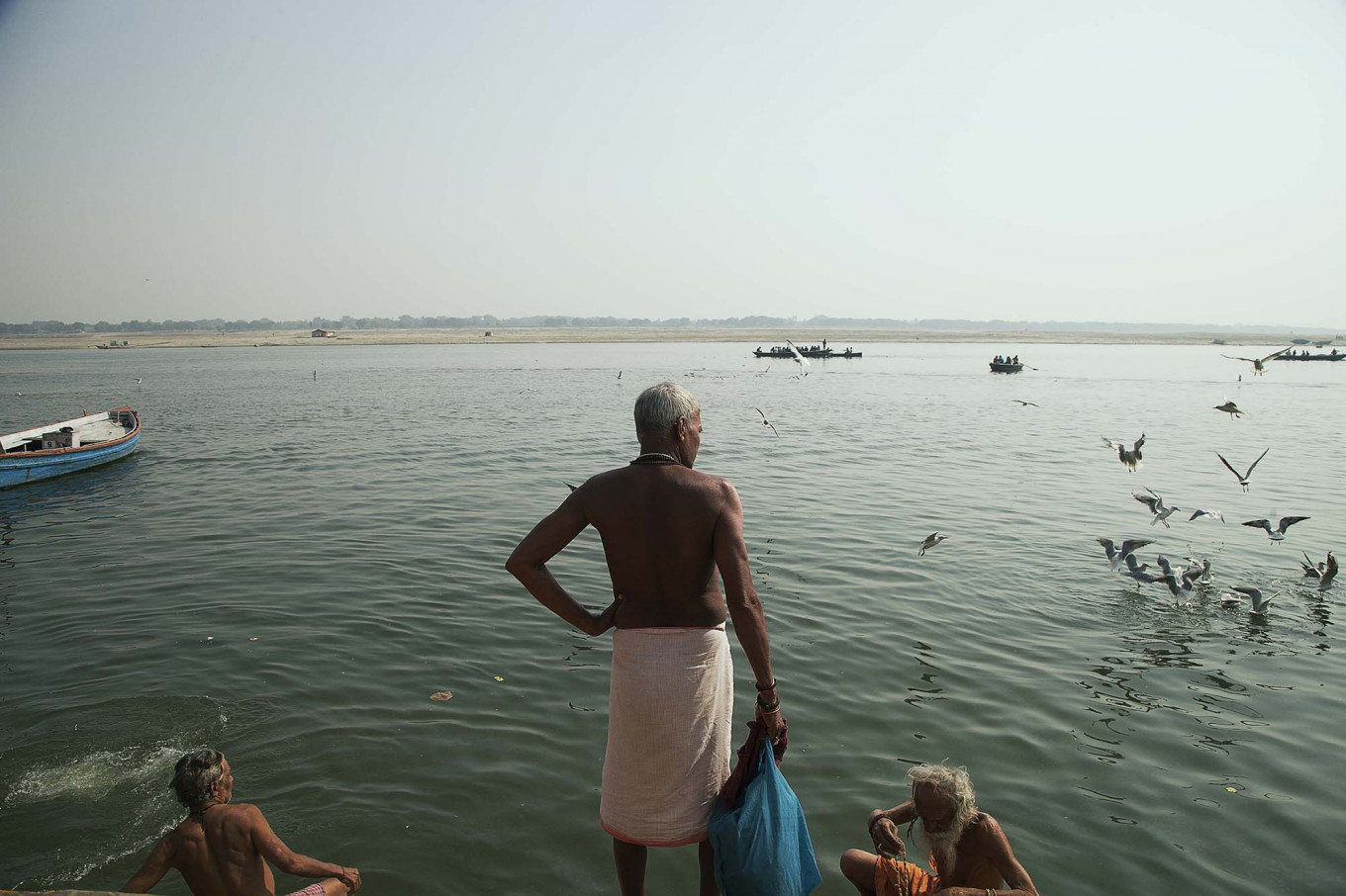 There are more than 80 ghats, the multiputpose, stone riverbank steps that give access to the Ganges in Varanasi. JP/Irene Barlian