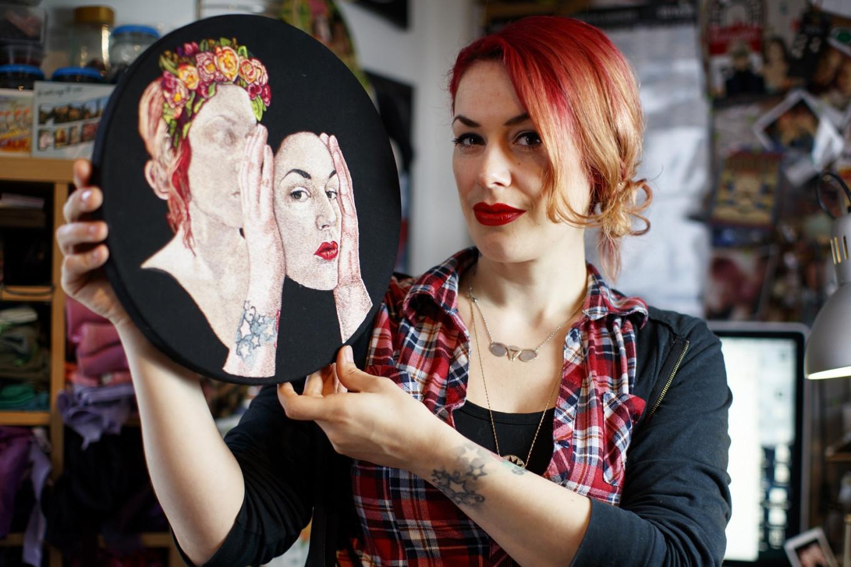 Embroidered genitalia turn textiles into feminist art