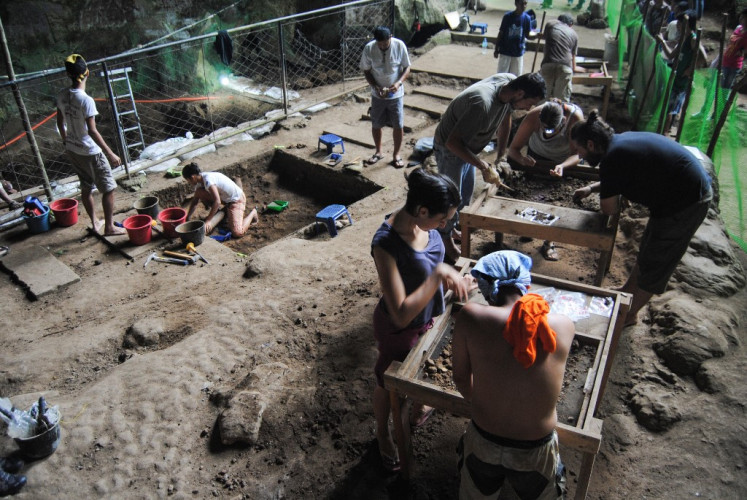A handout image made available by Florent Detroit and taken on August 9, 2011 shows a view of the excavation in the Callao Cave in the north of Luzon Island, in the Philippines, where an international multidisciplinary team discovered a new hominin species, Homo Luzonensis.