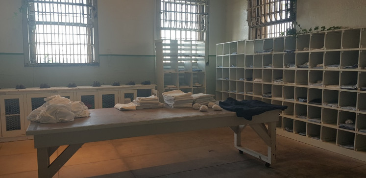 No choice: In this room, new inmates received their prison uniforms.