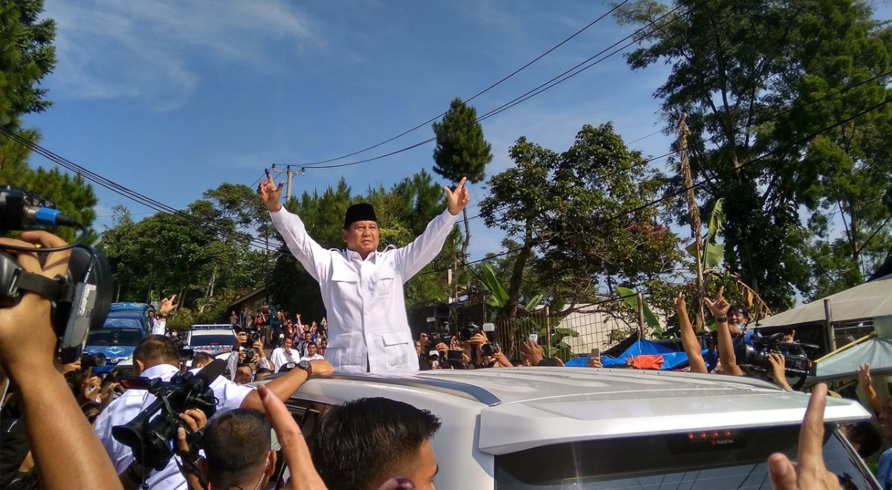 Upbeat Prabowo expects to get 63 percent of vote