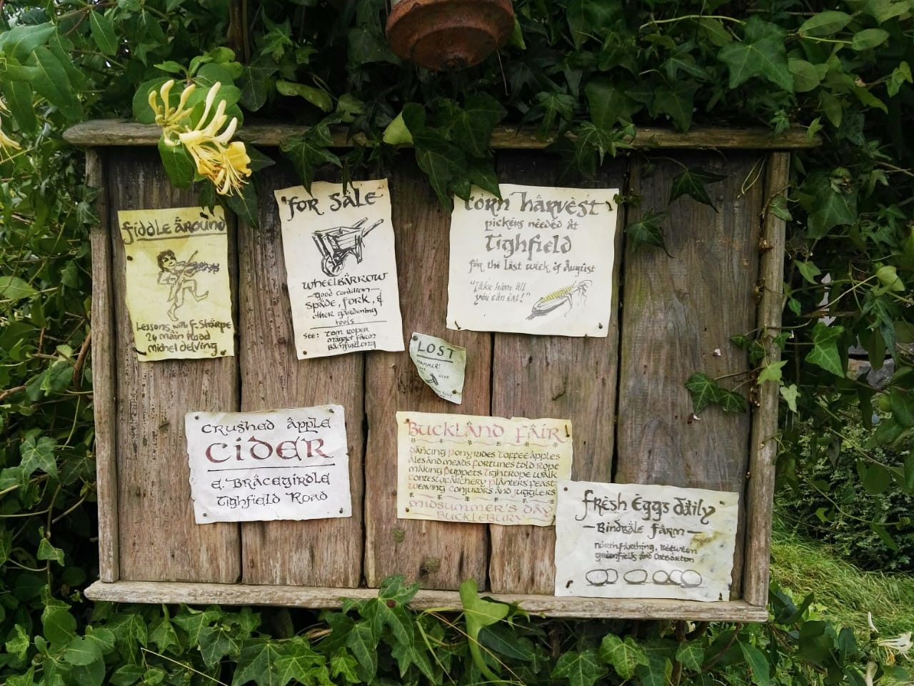 The notice board at the Hobbiton movie set in Matamata offers a glimpse into Shire life.