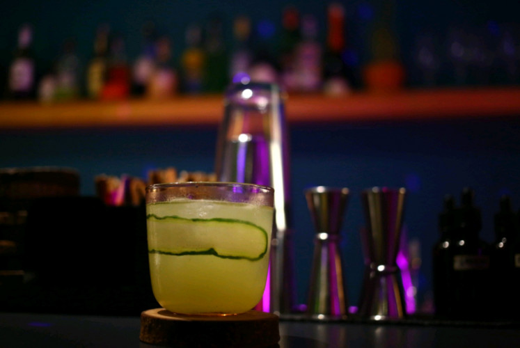 Gin-based 'Psycho Killer', one of recommended drinks at Slits. consists of cucumber, lemon and wasabi.
