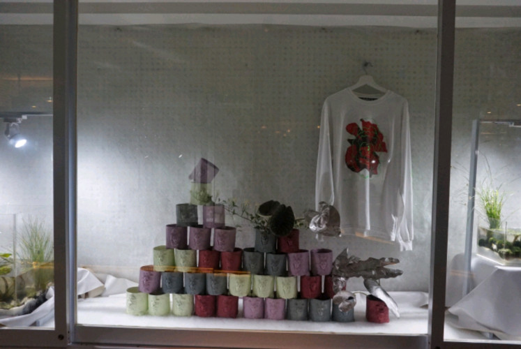 An installation and a long-sleeved T-shirt displayed at Zodiac.
