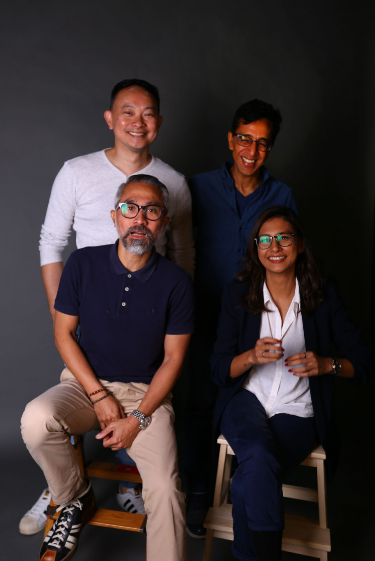 Actor Verdi Solaiman (above left), director Ravi Bharwani (above right), actor Lukman Sardi (bottom left) and actor Raihaanun during interviews with The Jakarta Post on April 28.