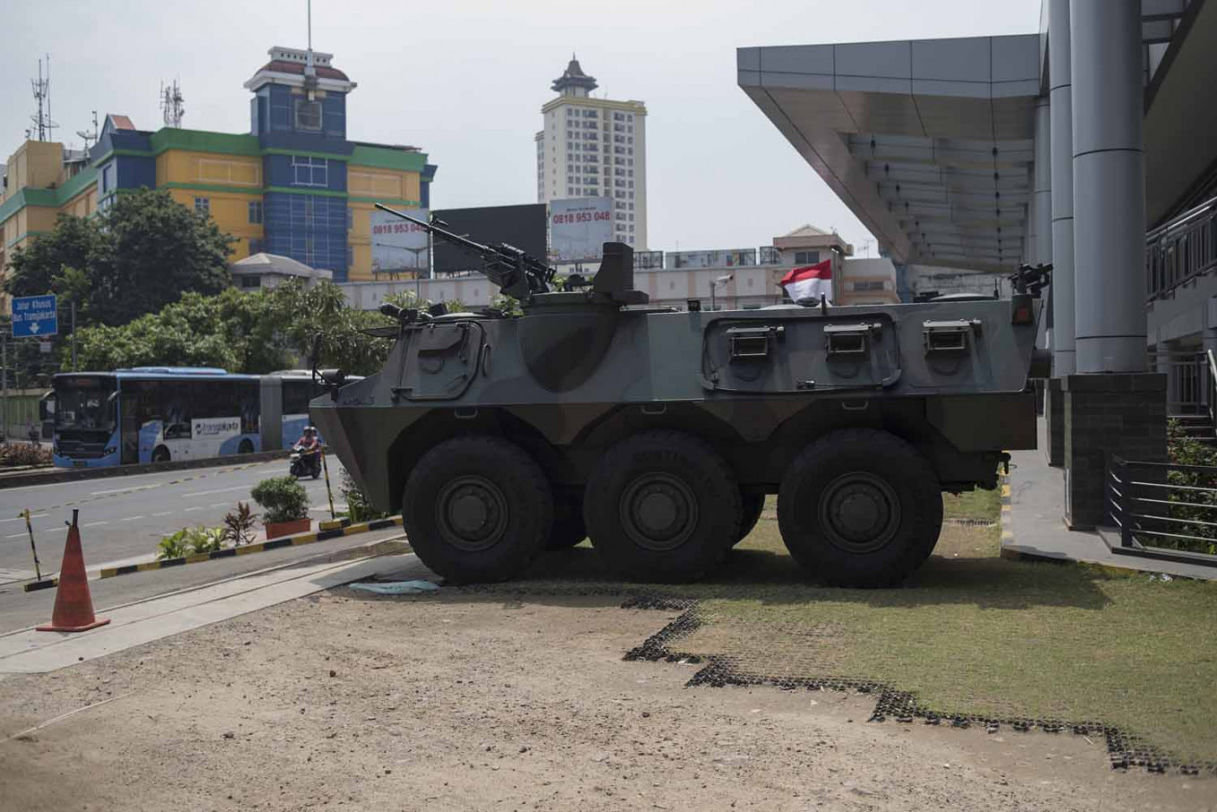 A military vehicle is seen parked in Glodok after arriving the night before the election. JP/Rosa Panggabean