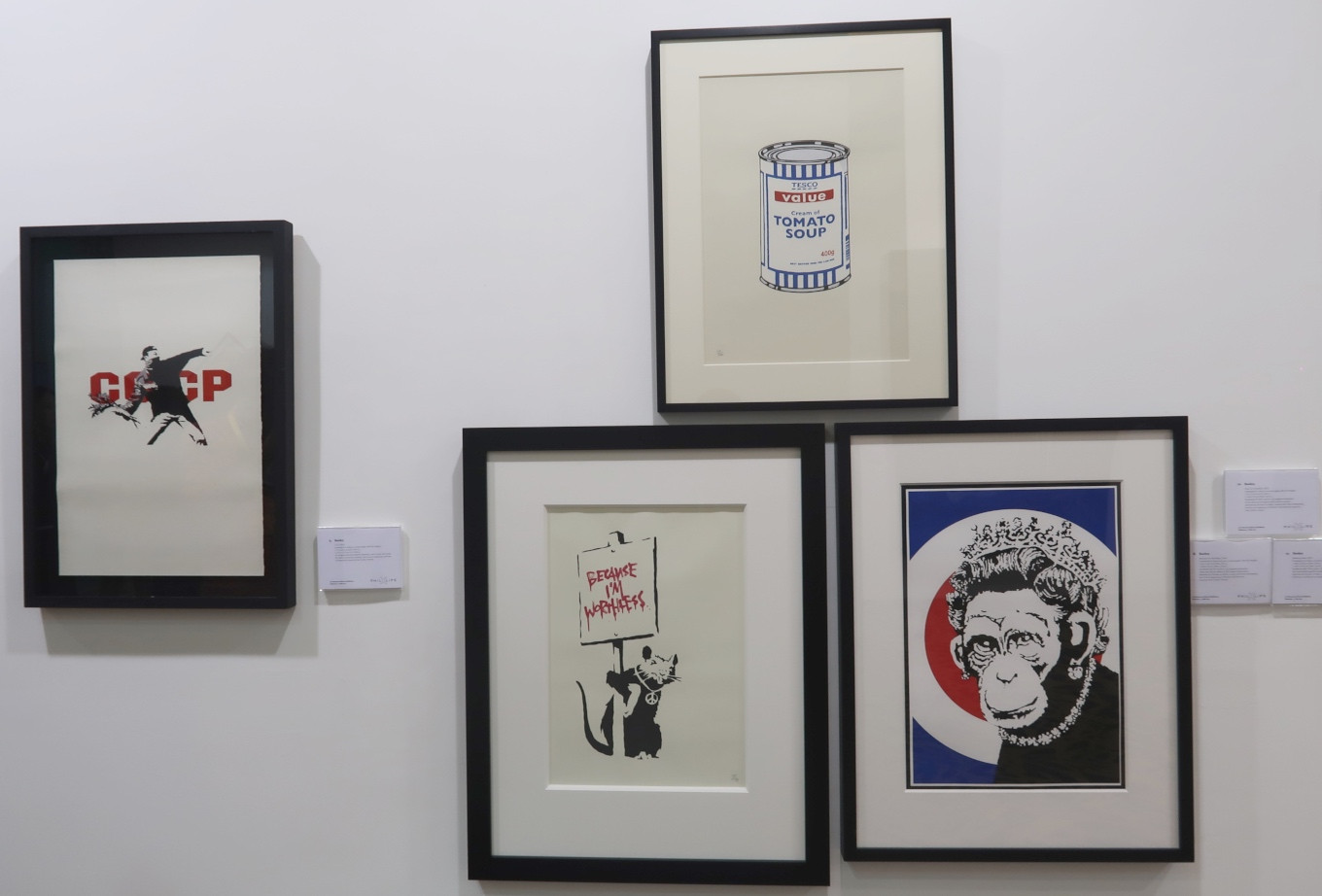 Banksy's paintings at the 2019 Art Moments Jakarta.