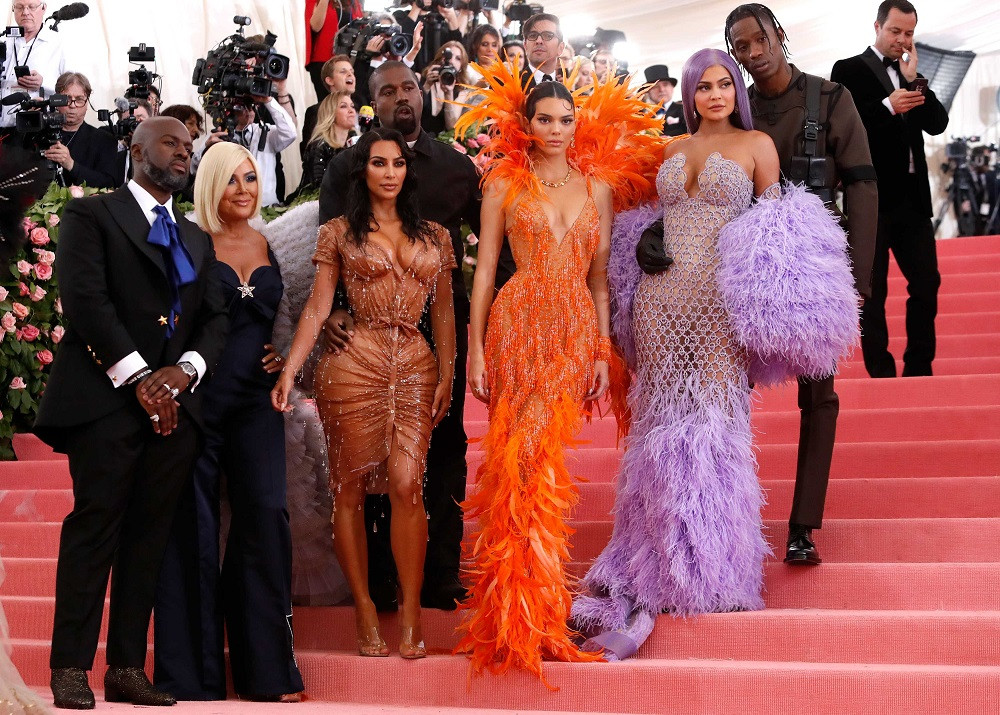 Corey Gamble, Kris Jenner, Kanye West, Kim Kardashian, Kendall Jenner, Kylie Jenner and Travis Scott at the Metropolitan Museum of Art Costume Institute Gala in New York City, US, on May 6, 2019.